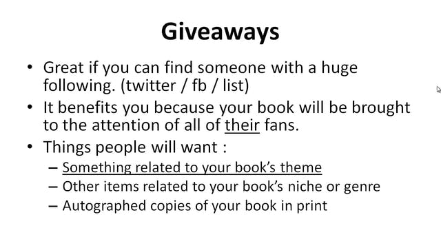 Bestseller Blueprint: 8 - Giveaways