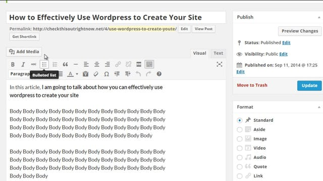 Building Your Website: 8 - How to Create a New Post in Wordpress