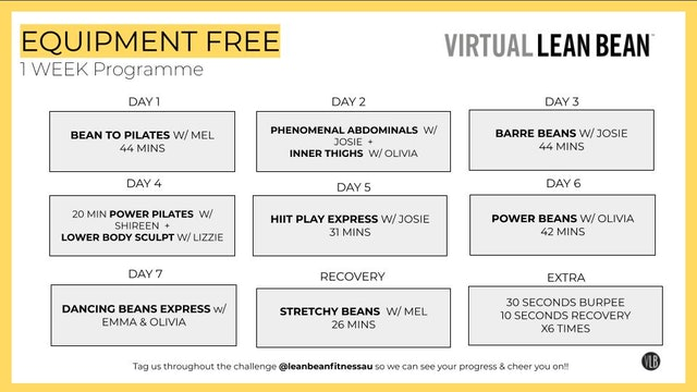 VLB 1 Week Programme - Equipment Free