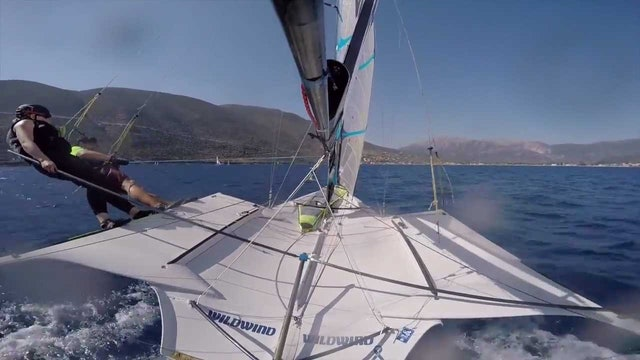 49er FX joy riding in Vassiliki with the VR FX Girls