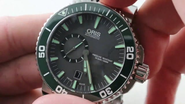 Oris Aquis Small Second Green Ceramic...