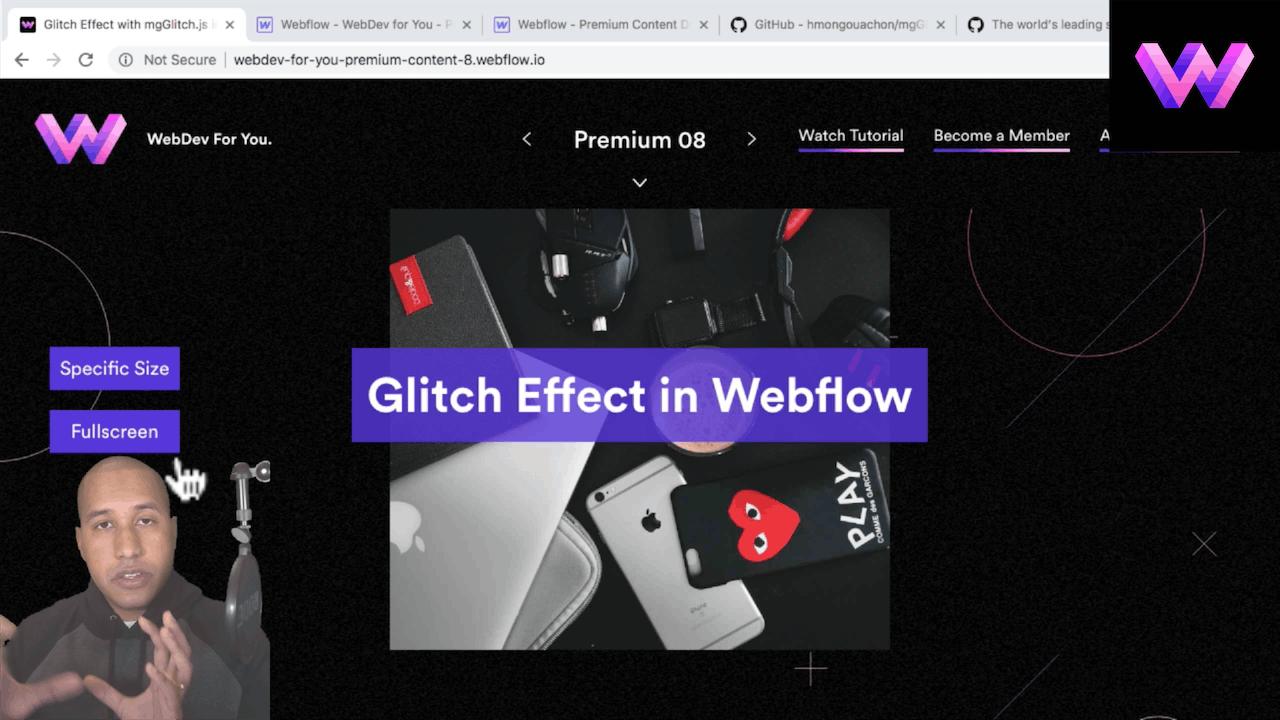 Gltich Script in Webflow