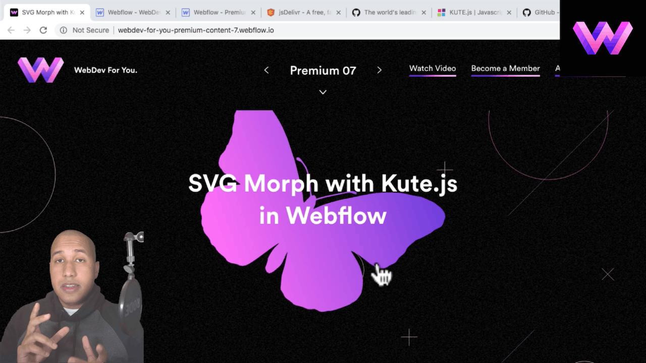 Kute.js Script in Webflow
