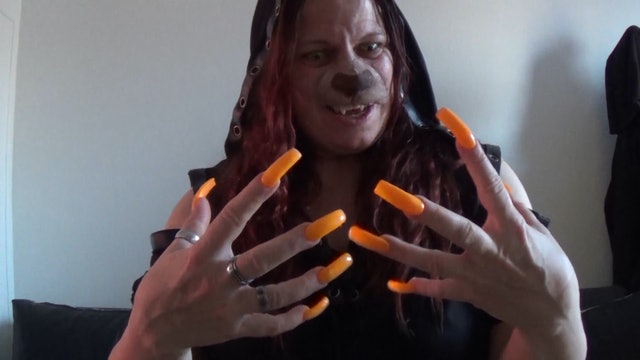 Werewolf Girl Transformation with Long Neon Nails