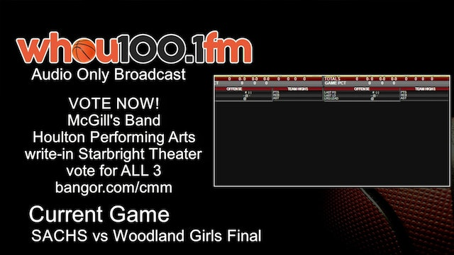 Bangor Tournament Coverage - Live Stats and Audio SACHS vs Woodland Girls Final