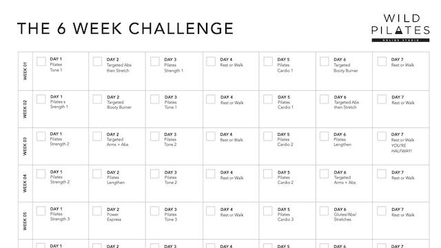 Workout Calendar 6 Week Challenge