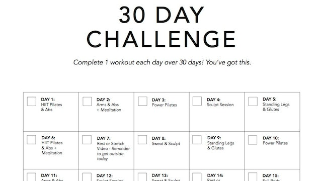 30 Day Calendar + Workout Checklist