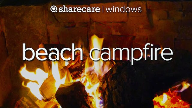Beach Campfire with ocean waves for s...