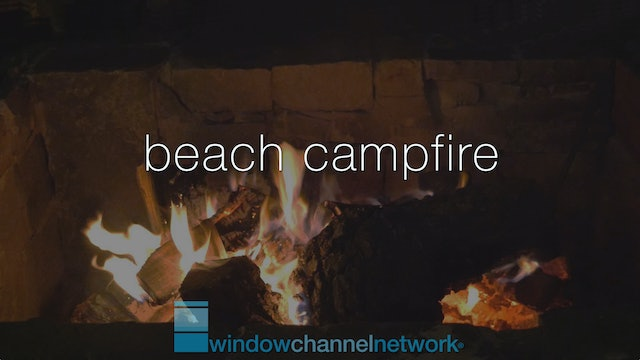 Beach Campfire with ocean waves for sleep 5 hours