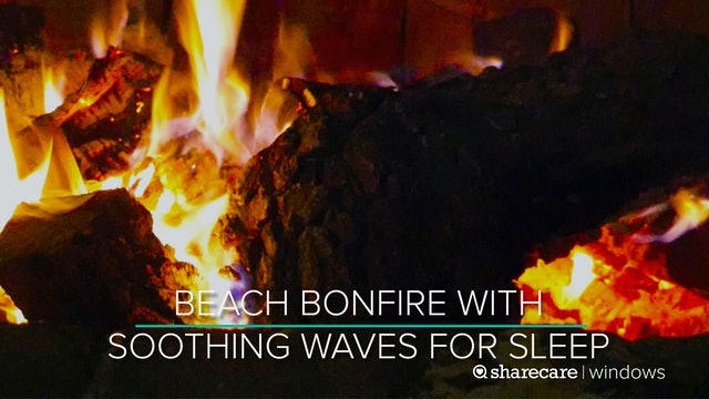 8 Hours of Beach Bonfire with Soothing Waves for Sleep (Ultra Low Light)