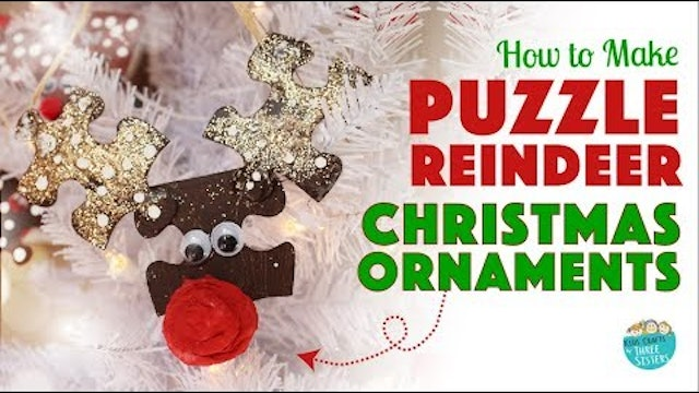 DIY Christmas Ornament | Easy Christmas Craft for Kids | Puzzle Reindeer