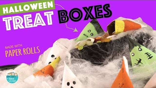 DIY Easy Halloween Treat Boxes from Paper Rolls  | Kids Crafts by Three Sisters