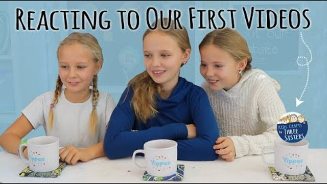 Reacting to Our First Art & Craft Videos  | Kids Crafts by Three Sisters