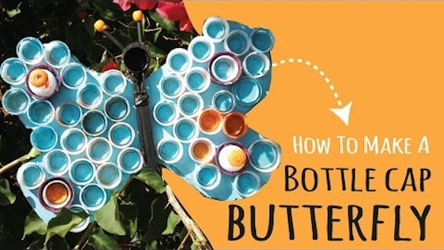 How to Make DIY Wall Art using Plastic Bottle Caps  |  Butterfly Kids Craft