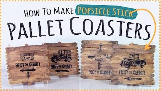 Popsicle Stick Craft - Popsicle Stick Pallet Coasters Kids Craft