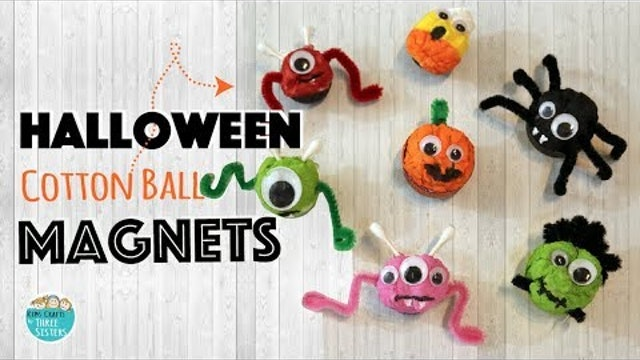 Easy Spider & Pumpkin Magnets using Cotton Balls
