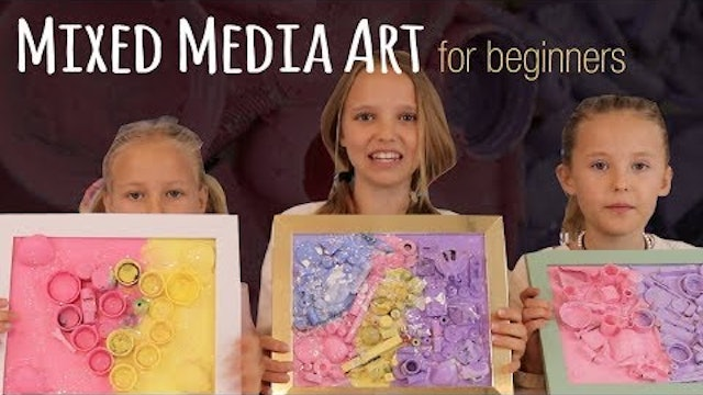 Mixed Media Art for Kids or Beginners | Recycled Art by Three Sisters