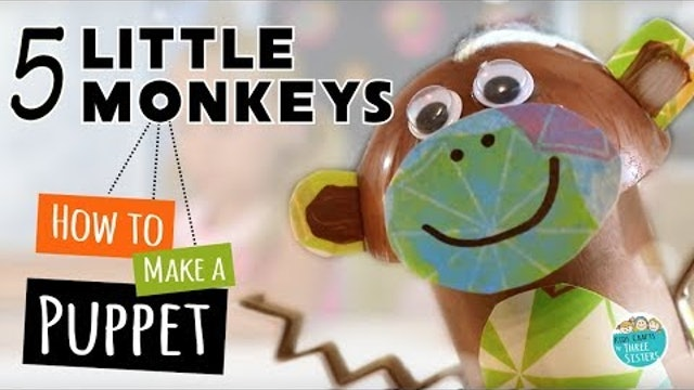 Five Little Monkeys | Animal Crafts for Kids | DIY Toilet Paper Roll Puppet