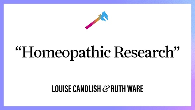 """""""Homeopathic Research"""""""