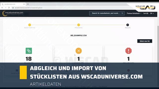 Abgleich und Import von Stücklisten aus wscaduniverse.com