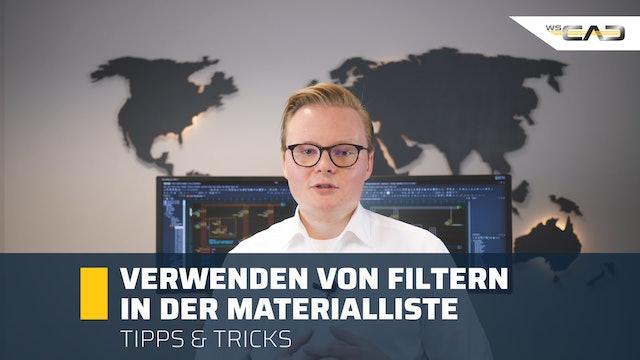 Verwenden von Filtern in der Materialliste