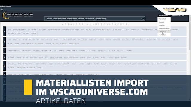 Materiallisten Import im wscaduniverse.com