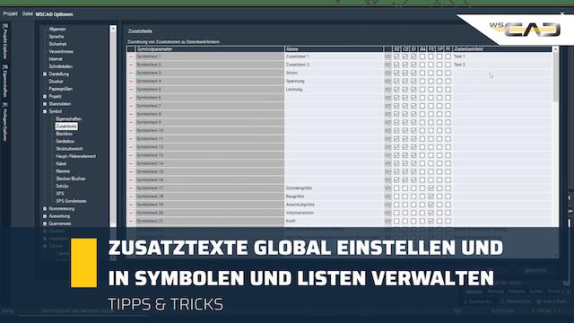 Zusatztexte global einstellen und in Symbolen und Listen verwalten
