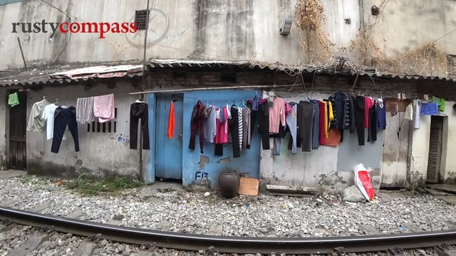 Life along the Hanoi railway at Vietnam