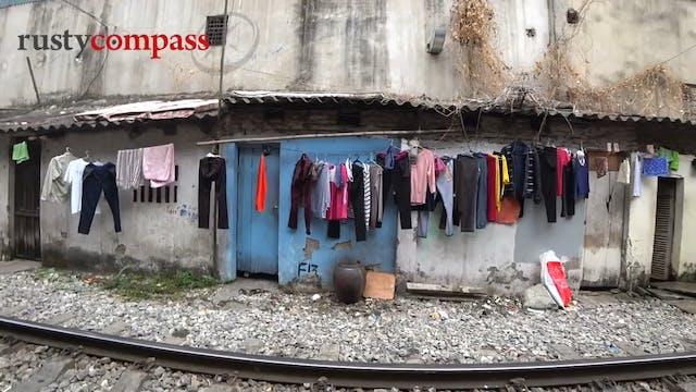 Life along the Hanoi railway at Vietnam