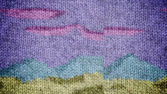 Knitted landscape tapestry