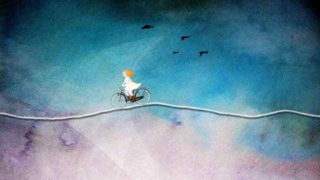 Olek on a bike