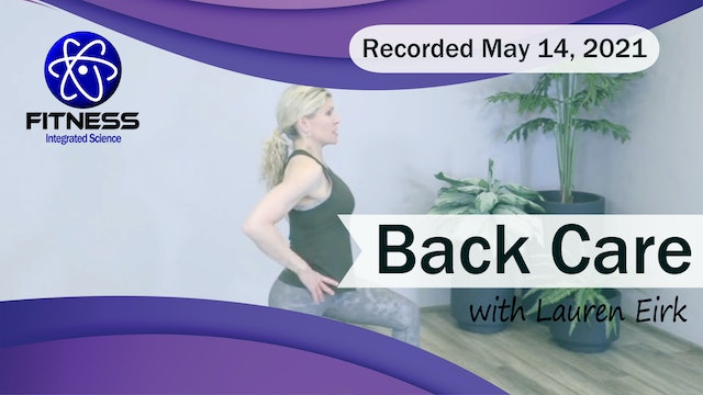 Recorded | Live Event with Lauren Eirk on May 14 2021 | Back Care Workout