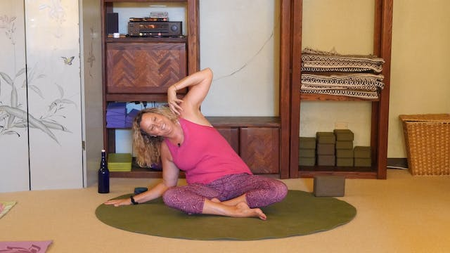 (1 Hr) The End of the Road of the Sentimental Journey: Gentle Yoga Therapy Class with Justine Shelton