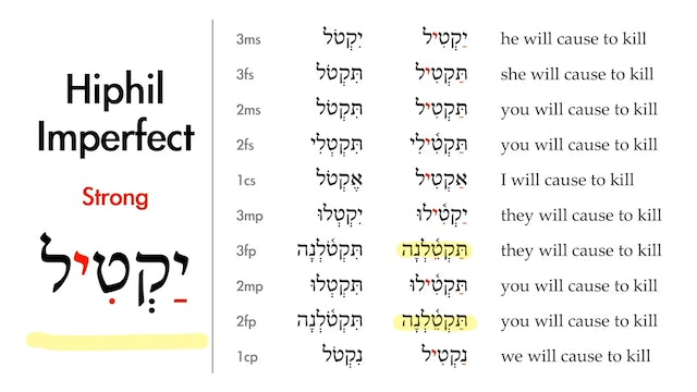 Basics of Biblical Hebrew - Session 26 - The Hiphil Stem Strong Verbs