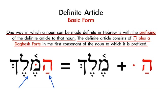 Basics of Biblical Hebrew - Session 5 - Definite Article and Conjunction Waw