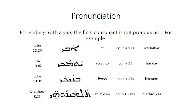 Basics of Classical Syriac - Session 6 - Pronominal Suffixes