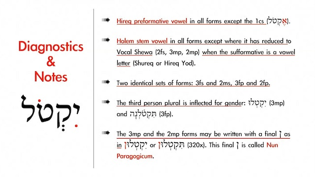 Basics of Biblical Hebrew - Session 15 - Qal Imperfect Strong Verbs