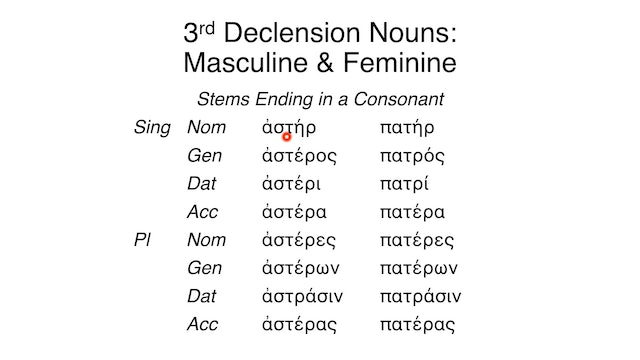 Reading Biblical Greek - Session 69A - 3rd Declension Nouns: Masculine and Feminine
