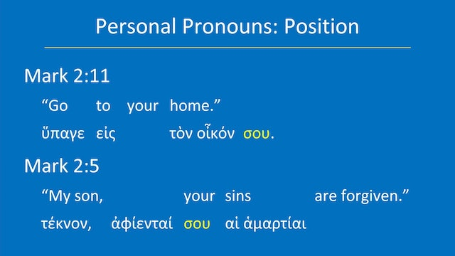 Greek for the Rest of Us - Lesson 22 - Pronouns