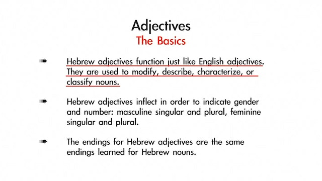 Basics of Biblical Hebrew - Session 7 - Hebrew Adjectives