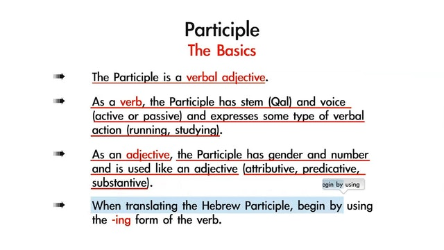 Basics of Biblical Hebrew - Session 22 - Qal Participle