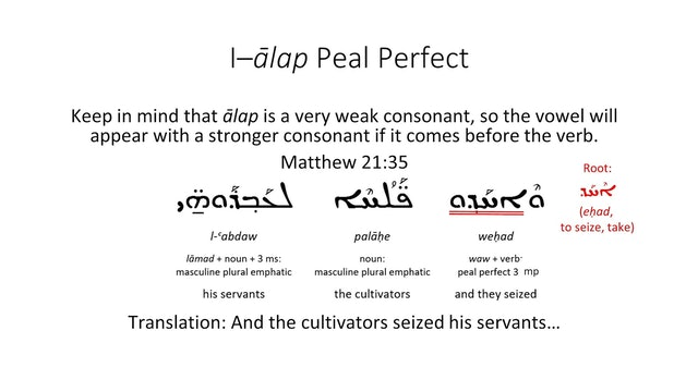 Basics of Classical Syriac - Session 17 - I-Alap Verbs