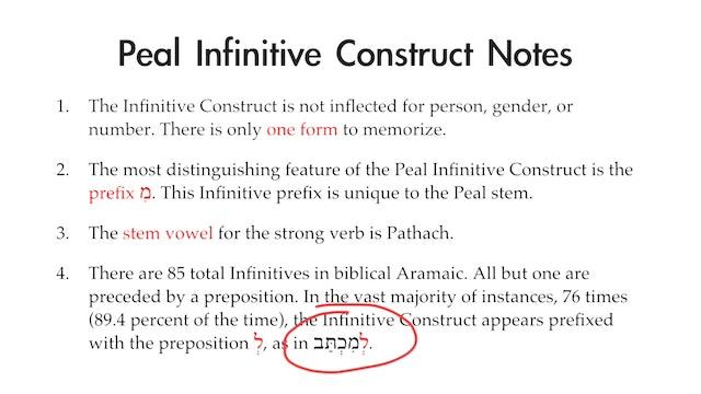 Basics of Biblical Aramaic - Session 16 - Peal Infinitive Construct