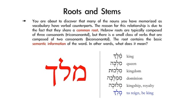 Basics of Biblical Hebrew - Session 12 - Introduction to Hebrew Verbs