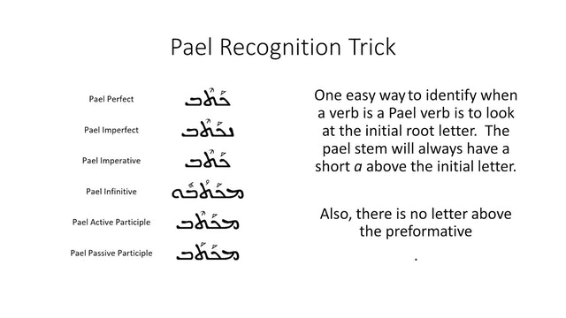 Basics of Classical Syriac - Session 13 - Pael