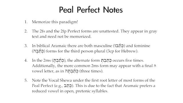 Basics of Biblical Aramaic - Session 13 - Peal Perfect