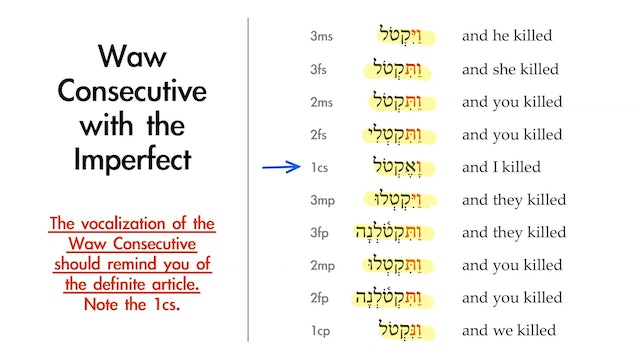 Basics of Biblical Hebrew - Session 17 - Waw Consecutive