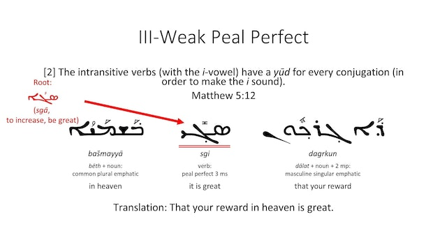 Basics of Classical Syriac - Session 18 - III Weak Verbs