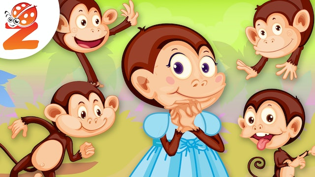 5 Little Monkeys Jumping On The Bed | Animated Songs