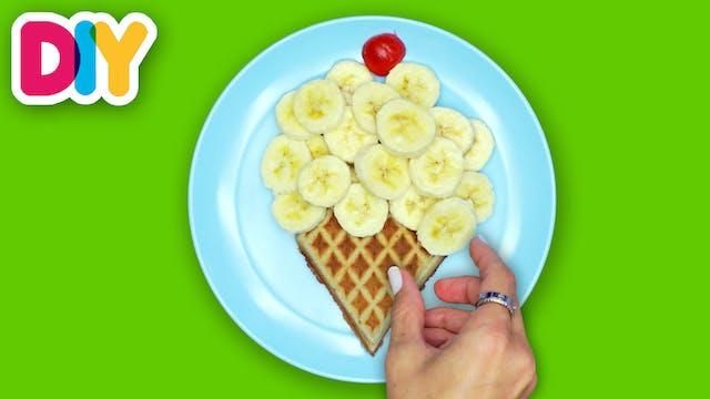 Banana Ice Cream   Waffle Snack